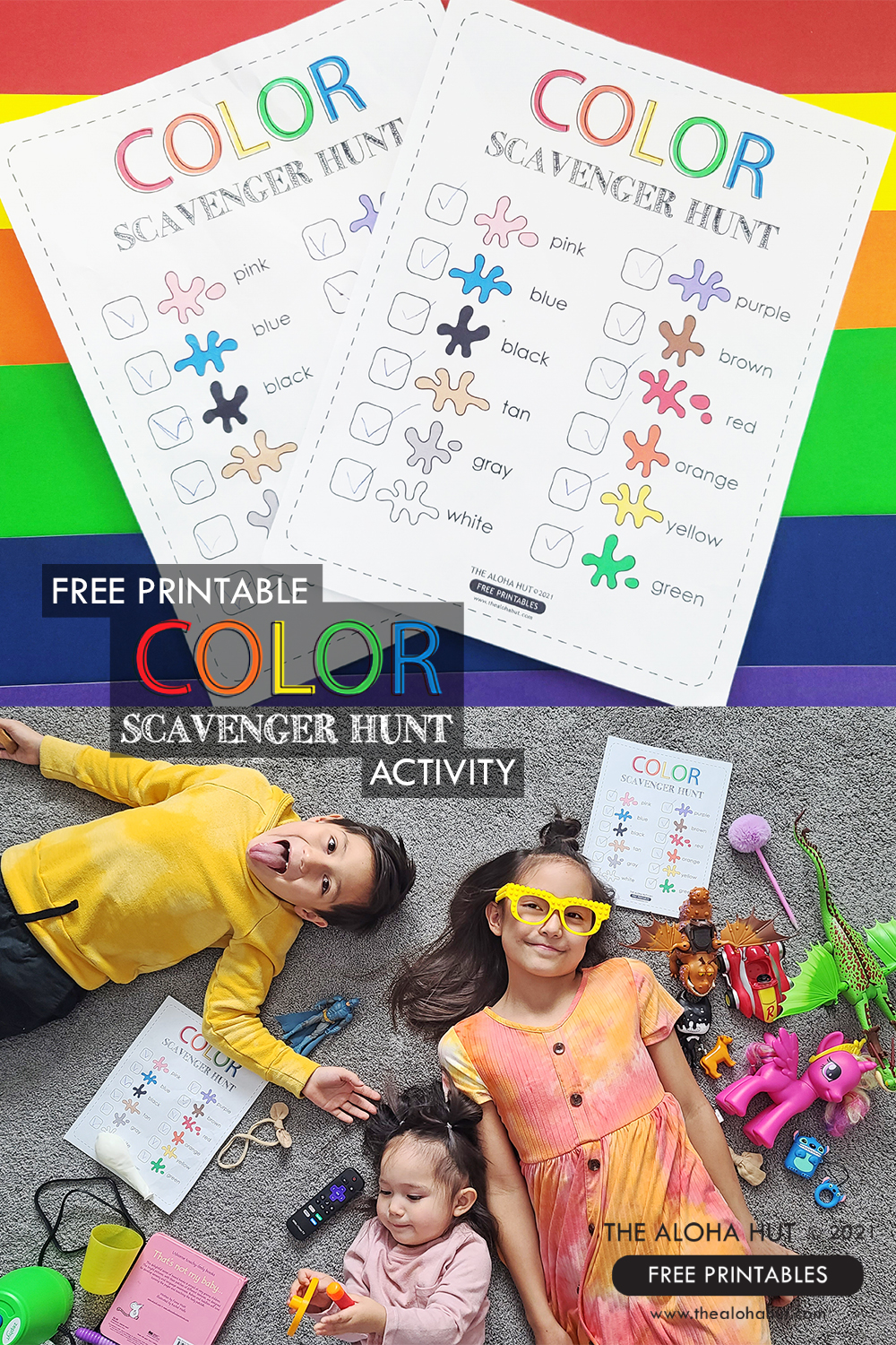 Free Printable Color Scavenger Hunt Activity for Kids by the Aloha Hut