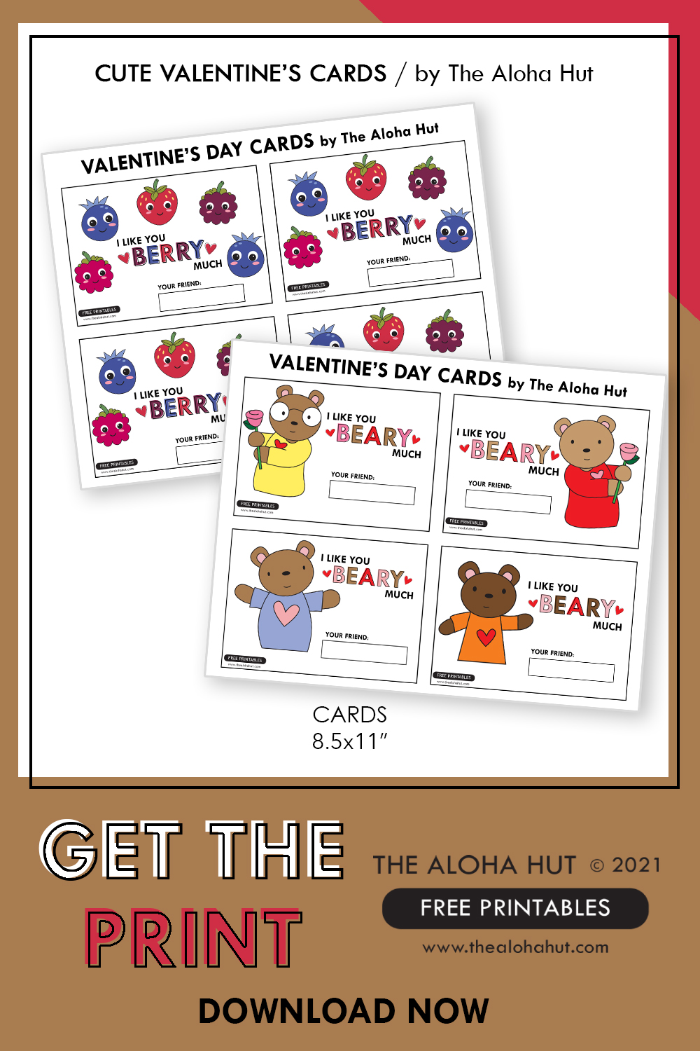Super Cute Valentine's Day Cards - Free Printables by The Aloha Hut