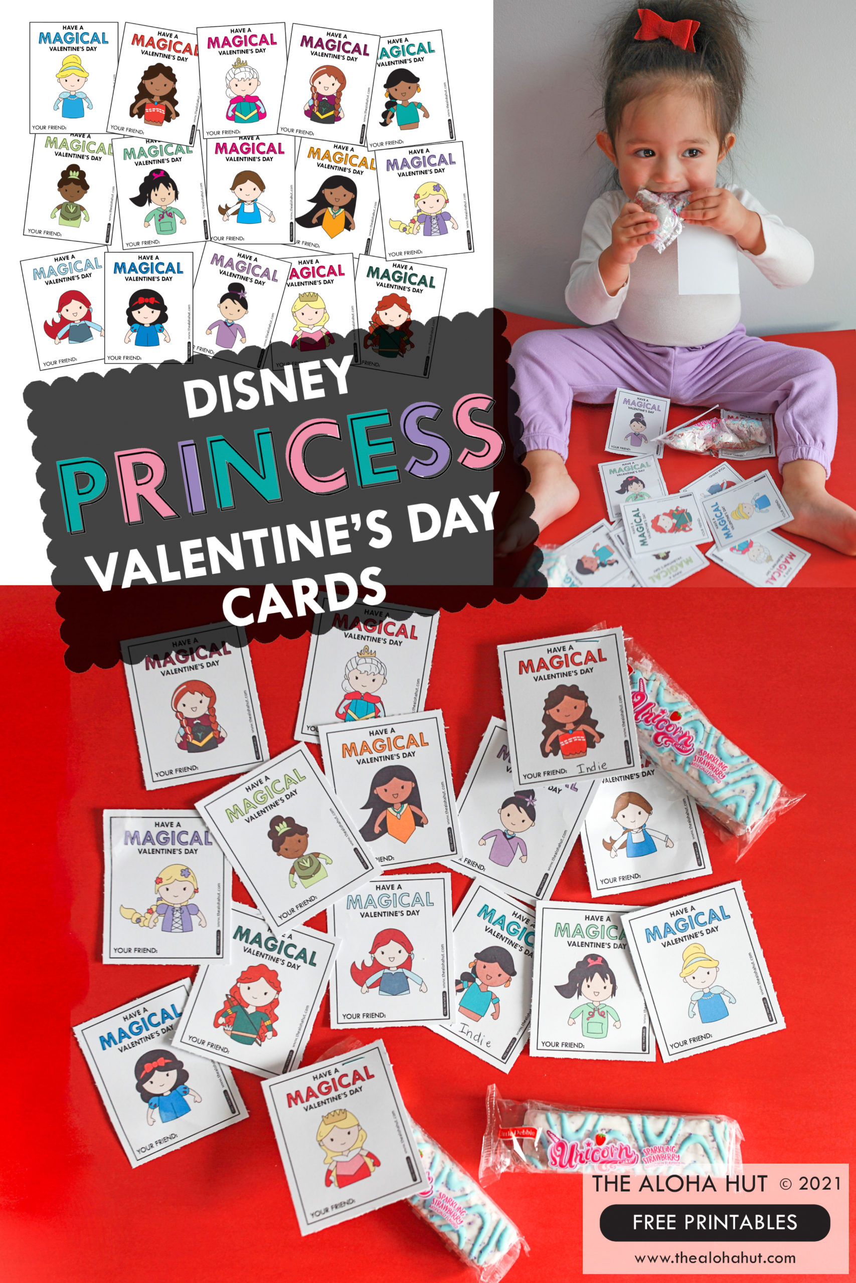 Magical Disney Princess Valentine's Day Cards - Free Printables by the Aloha Hut