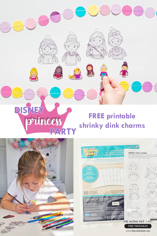 FREE PRINTABLE Disney Princess party shrinky dink charms