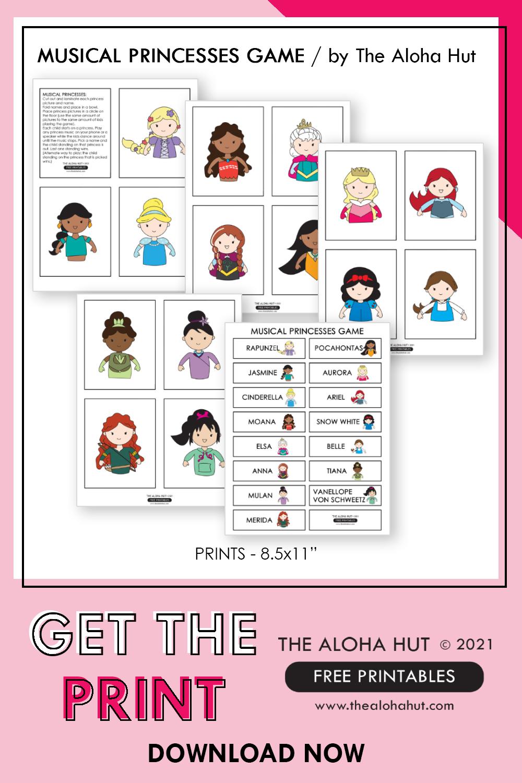 FREE PRINTABLE Musical Princess Game by the Aloha Hut