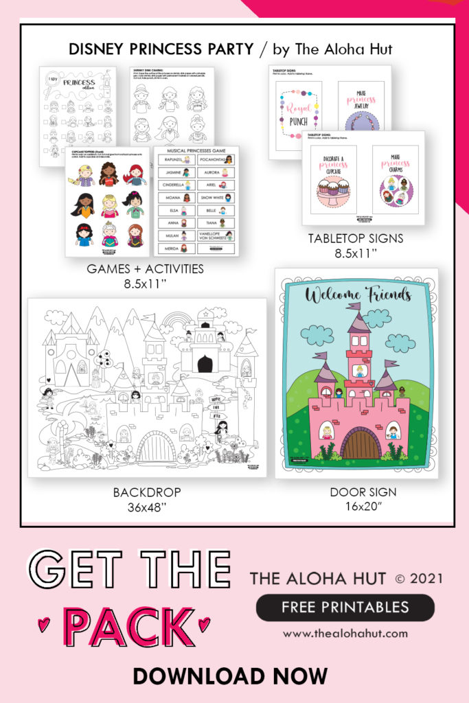 FREE PRINTABLES - Disney Princess Party pack by the Aloha Hut