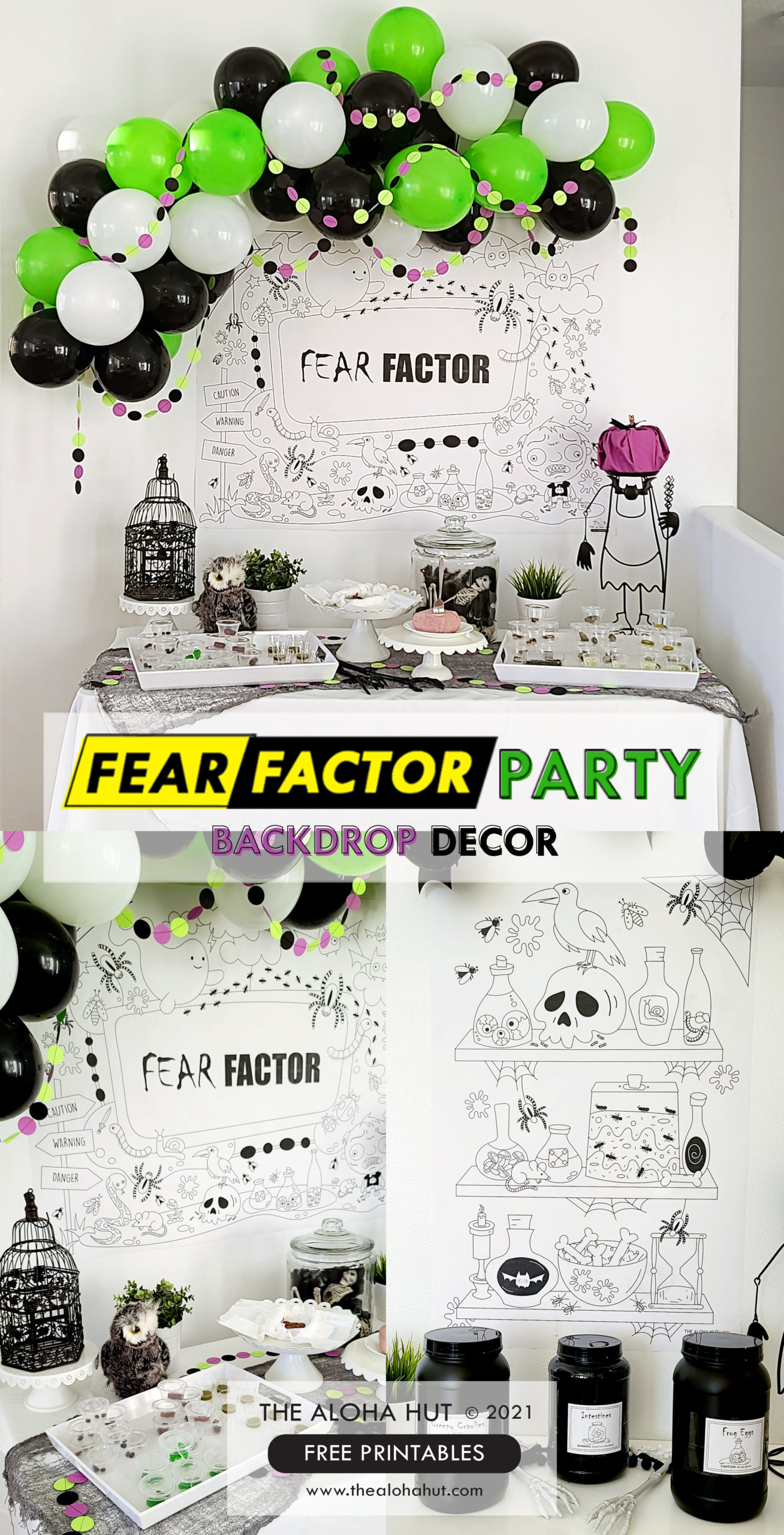 Fear Factor Party Backdrop Decor - The Aloha Hut