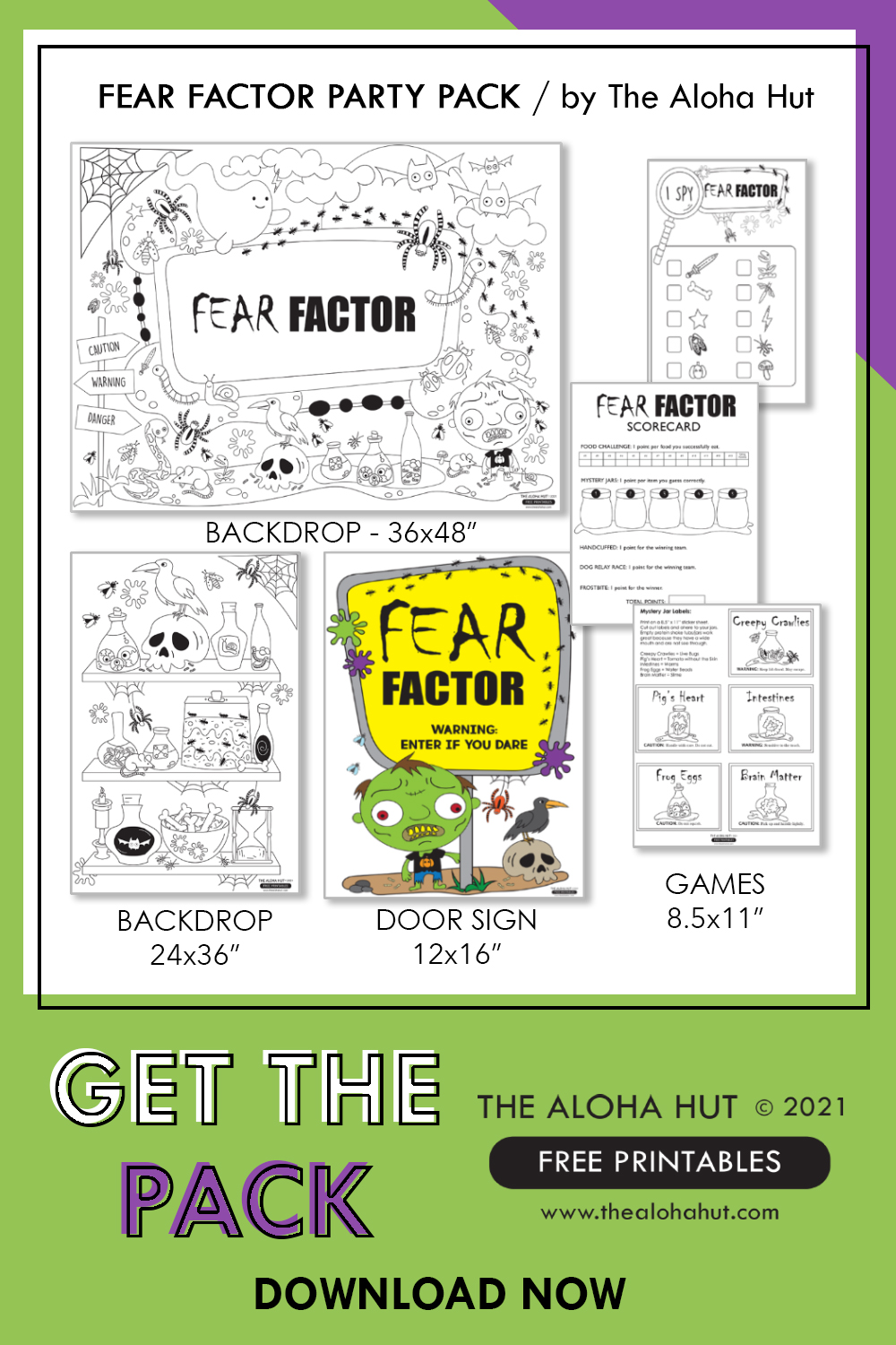 FREE PRINTABLES Fear Factor Party Pack - The Aloha Hut