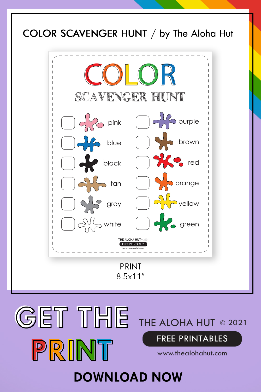 Free Printable Color Scavenger Hunt Activity