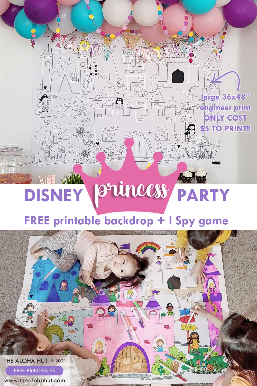 FREE Printable Princess Party backdrop_the Aloha Hut