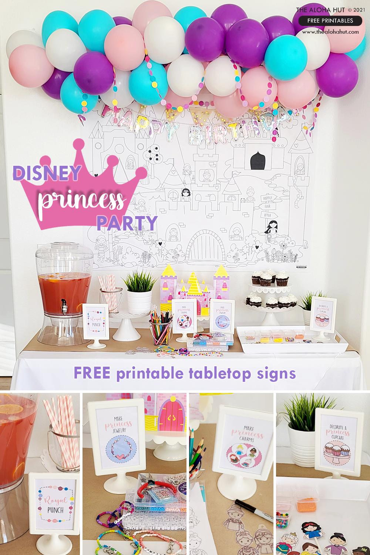 Princess Party tabletop signs_The Aloha Hut