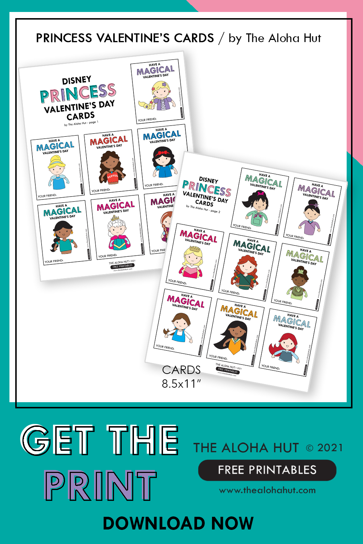Disney Princess Valentine's Day Cards - Free Printable by the Aloha Hut