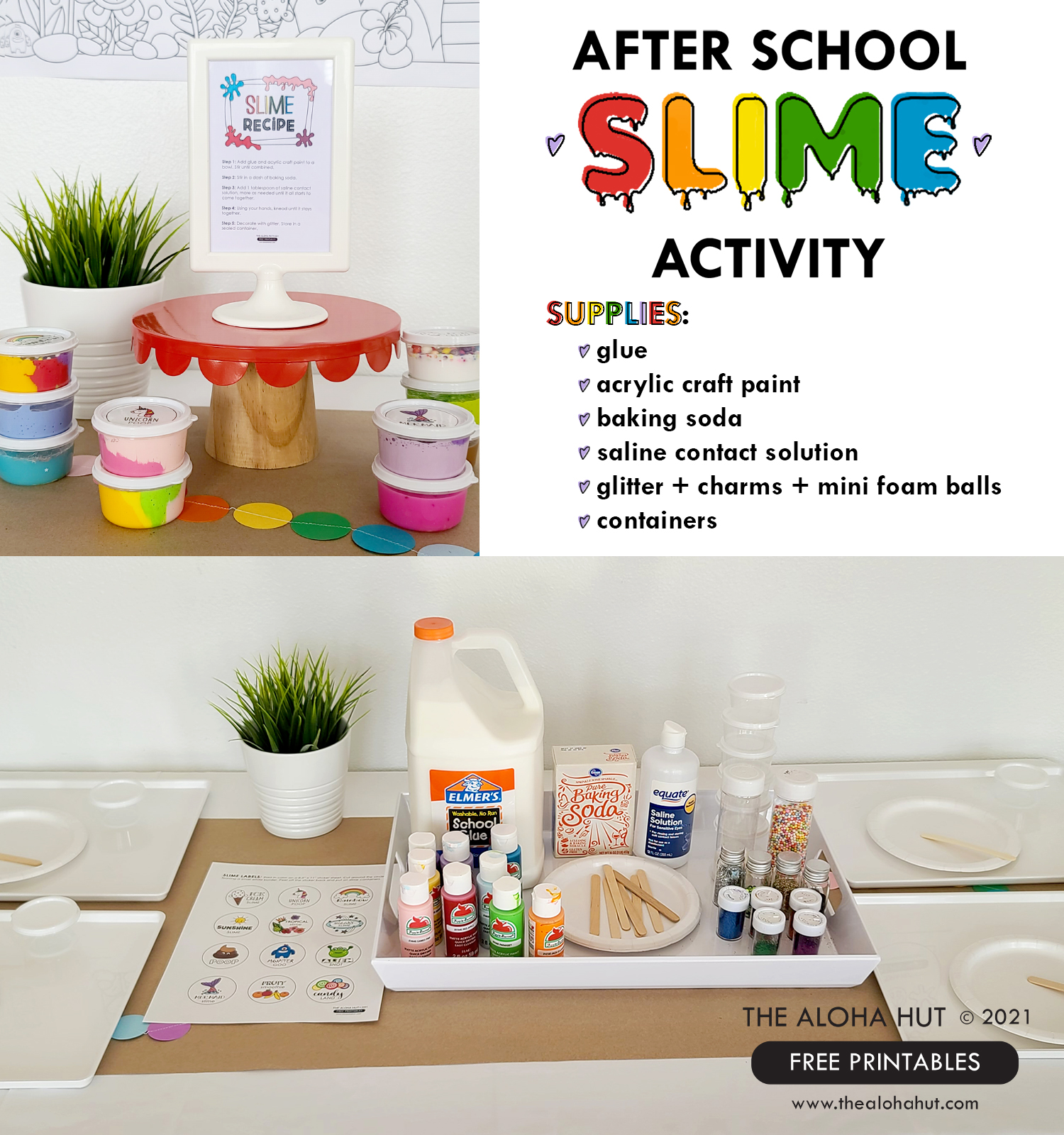 After School Slime Activity - Recipe + Supplies FREE Printables - The Aloha Hut