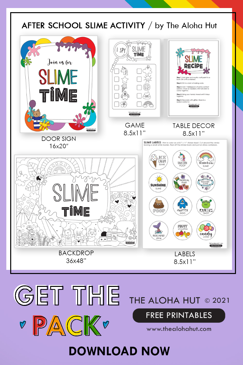 After School Slime Activity Pack - FREE Printables - The Aloha Hut