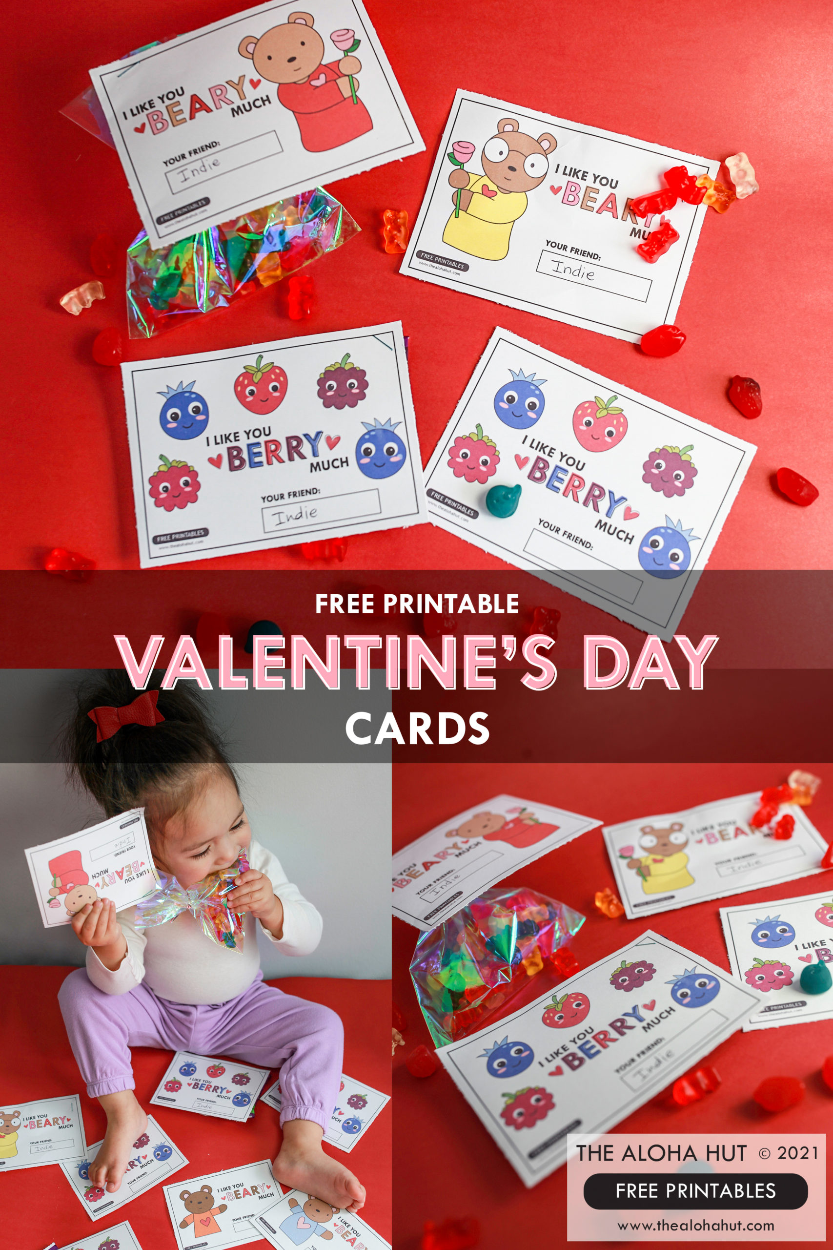 Super Cute VALENTINE'S DAY Cards by the Aloha Hut - Free Printable