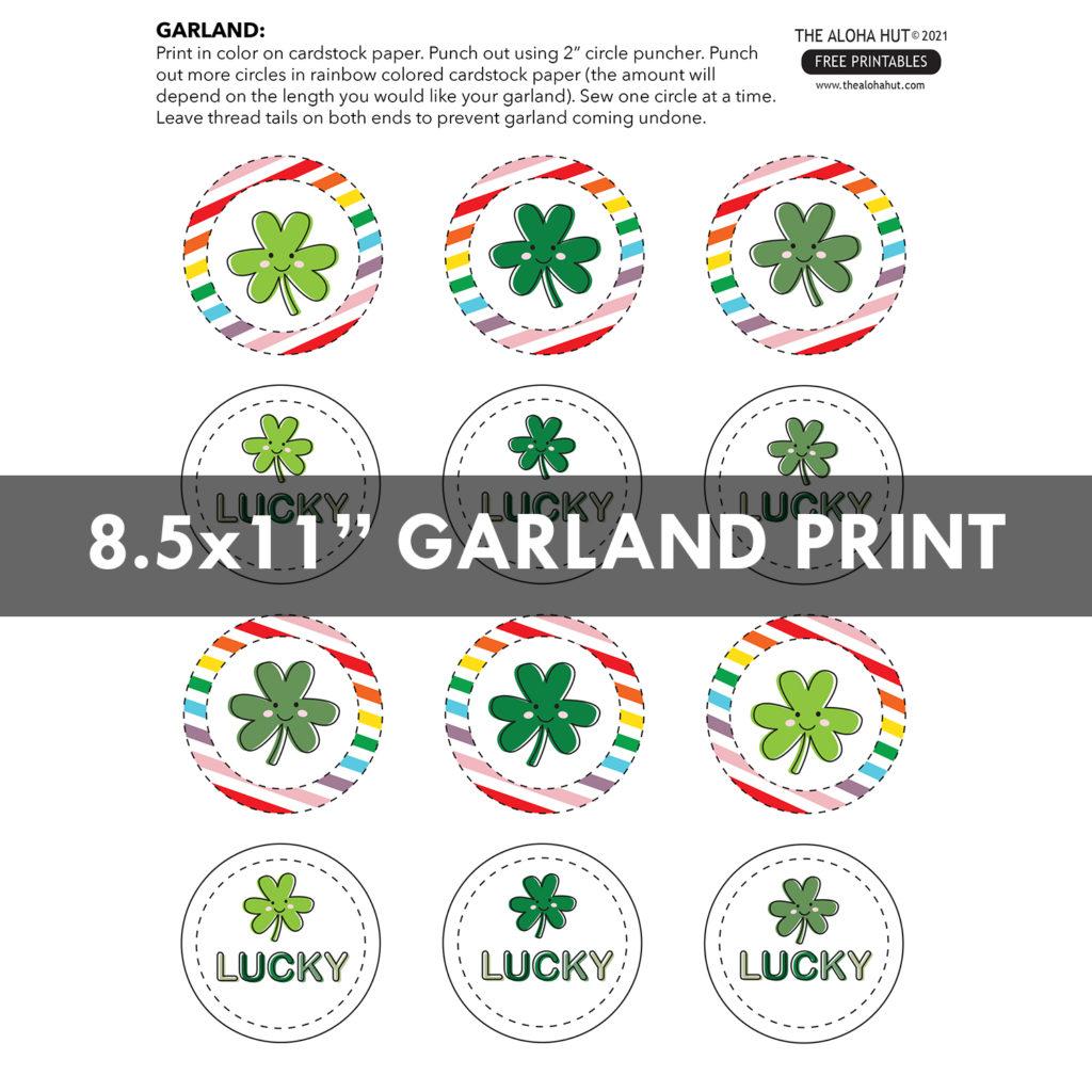St Patricks Day garland Free Printable by the Aloha Hut