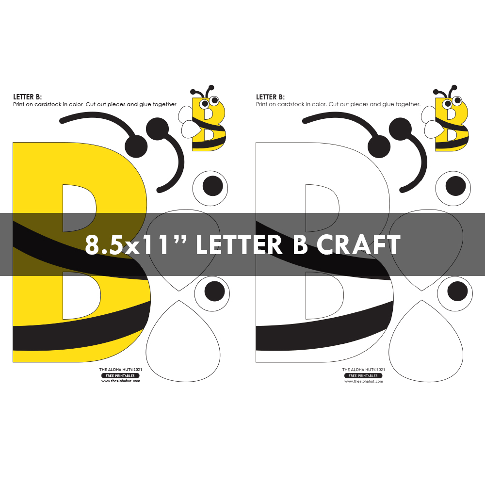 Alphabet Letter Crafts - Letter B - free printable 6 by the Aloha Hut