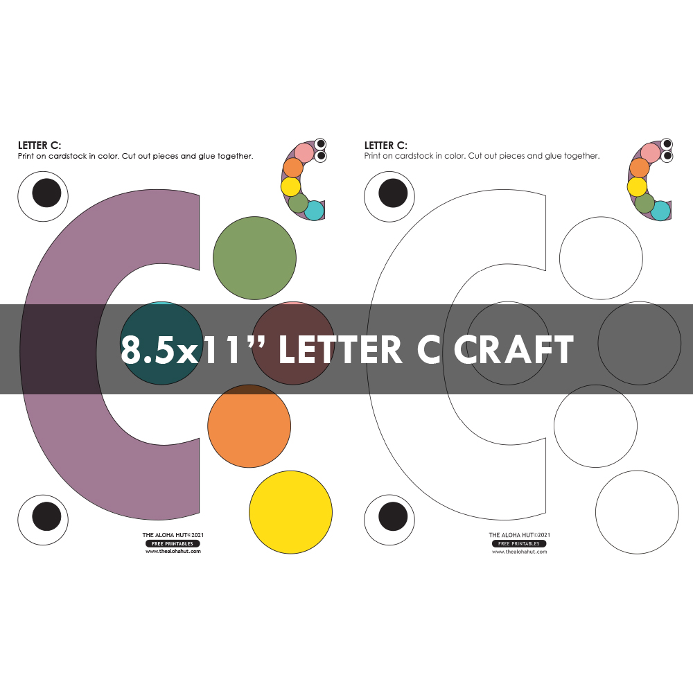 Alphabet Letter Crafts - Letter C - free printable by the Aloha Hut