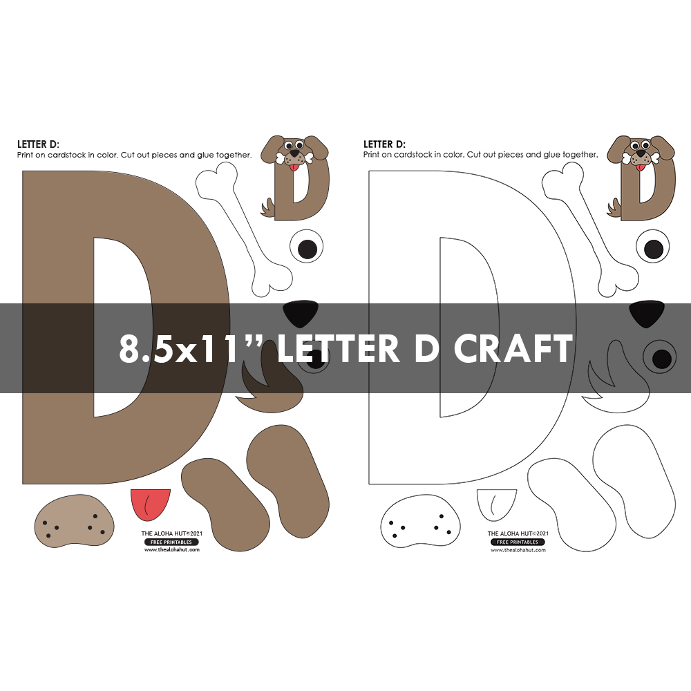 Alphabet Letter Crafts - Letter D - free printable 5 by the Aloha Hut