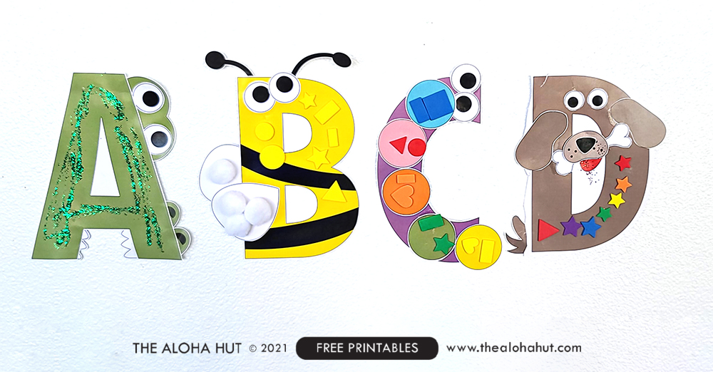 Alphabet Letter Crafts - Letter D - free printable 6 by the Aloha Hut