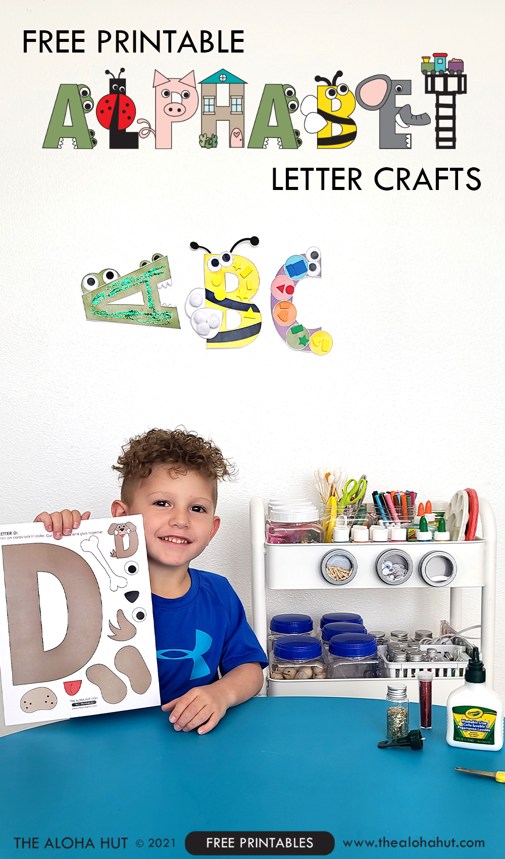 Alphabet Letter Crafts - Letter D - free printable by the Aloha Hut