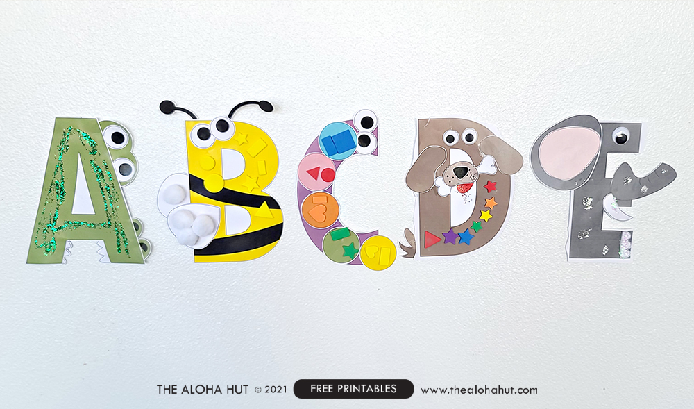 Alphabet Letter Crafts - Letter E - free printable 4 by the Aloha Hut