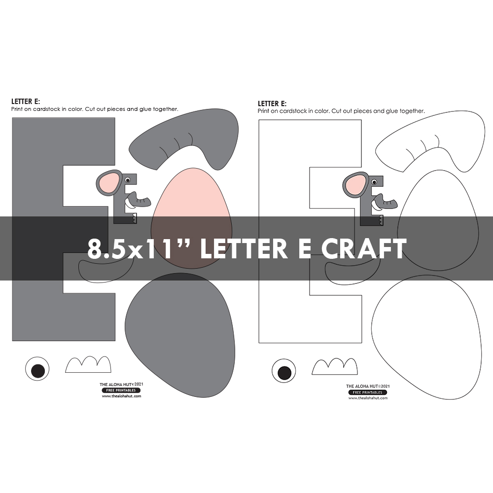 Alphabet Letter Crafts - Letter E - free printable 6 by the Aloha Hut
