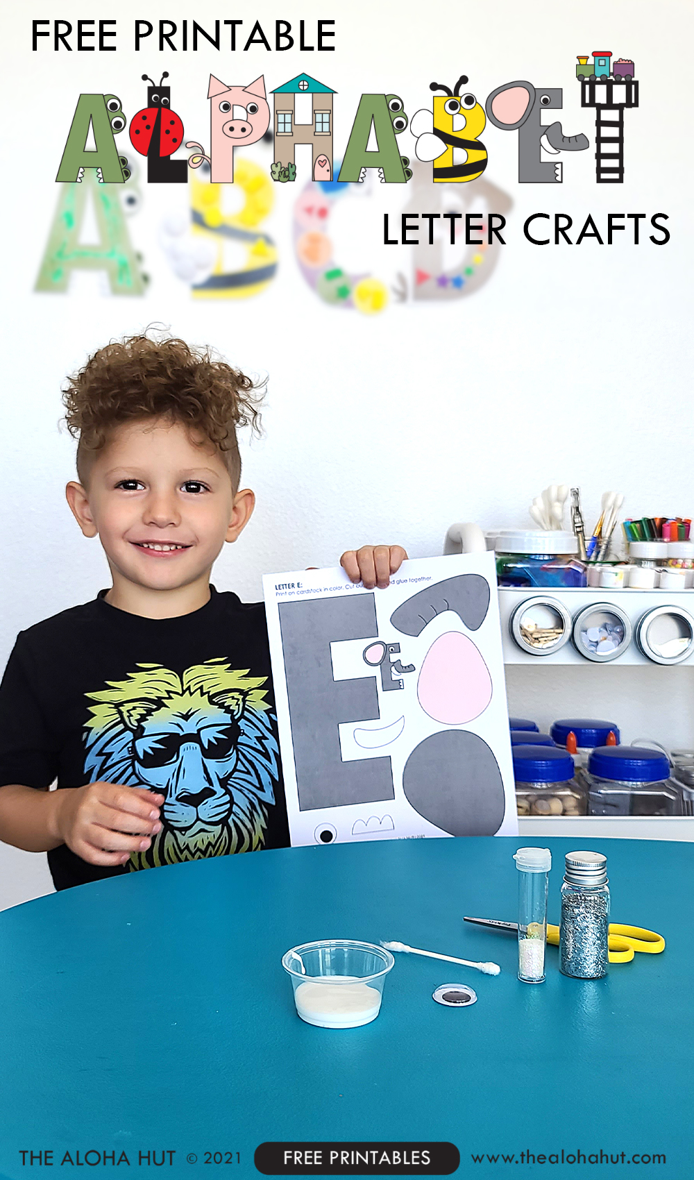 Alphabet Letter Crafts - Letter E - free printable by the Aloha Hut