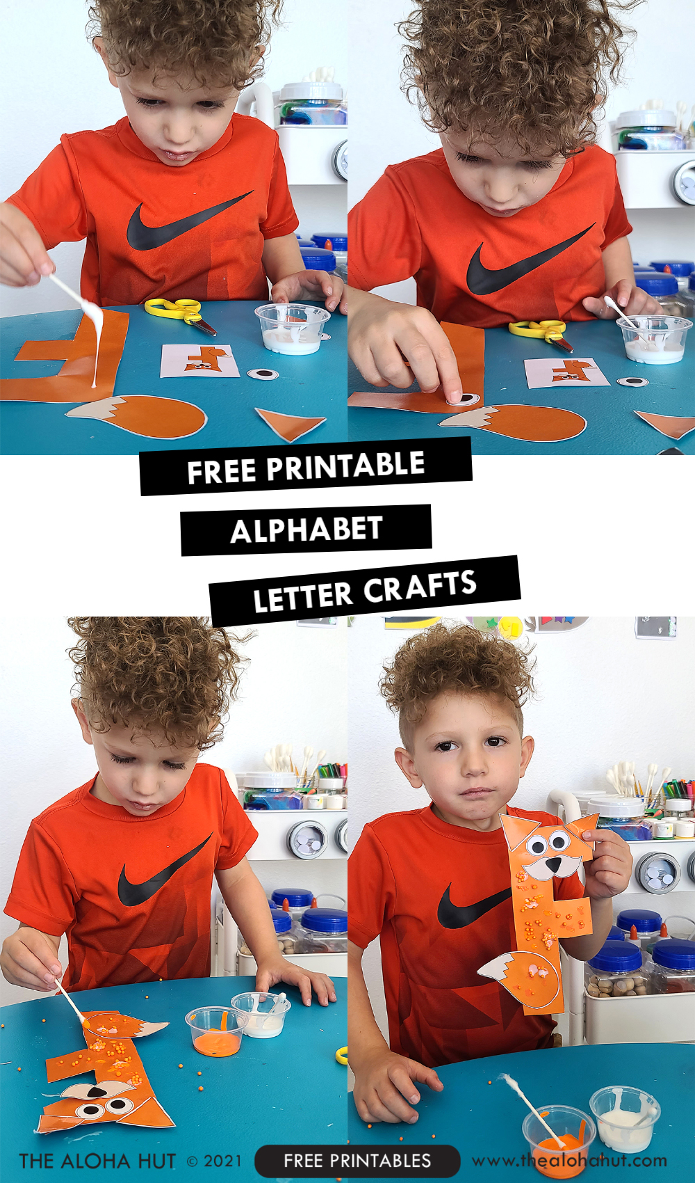 Alphabet Letter Crafts - Letter F - free printable 2 by the Aloha Hut
