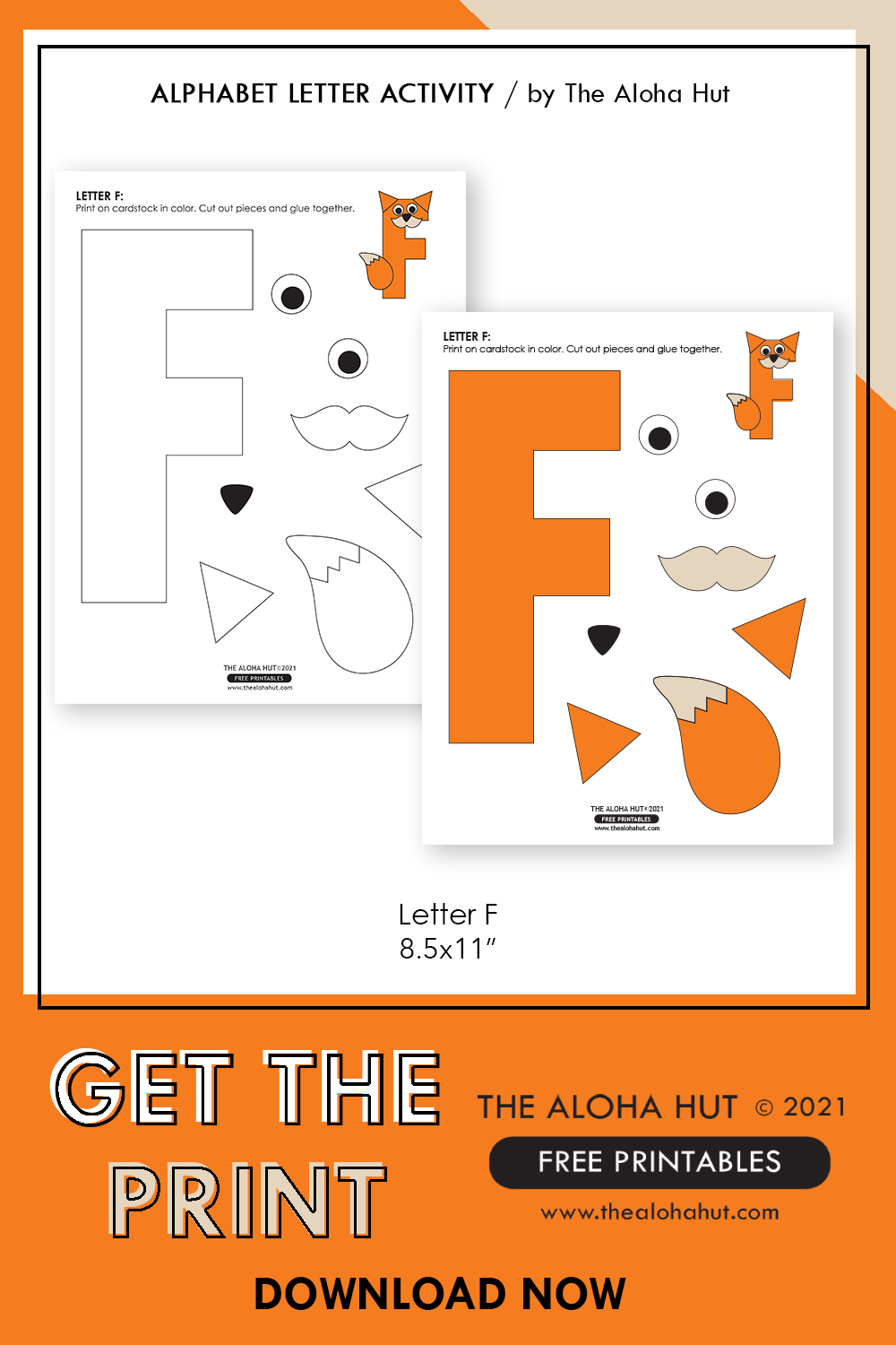 Alphabet Letter Crafts - Letter F - free printable 5 by the Aloha Hut