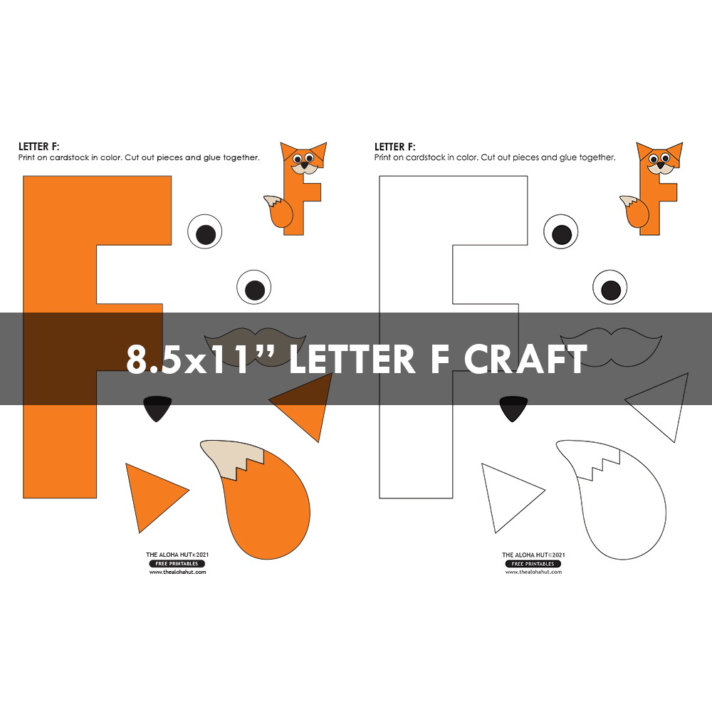 Alphabet Letter Crafts - Letter F - free printable 6 by the Aloha Hut