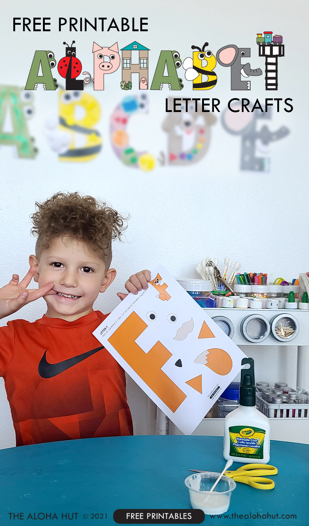 Alphabet Letter Crafts - Letter F - free printable by the Aloha Hut