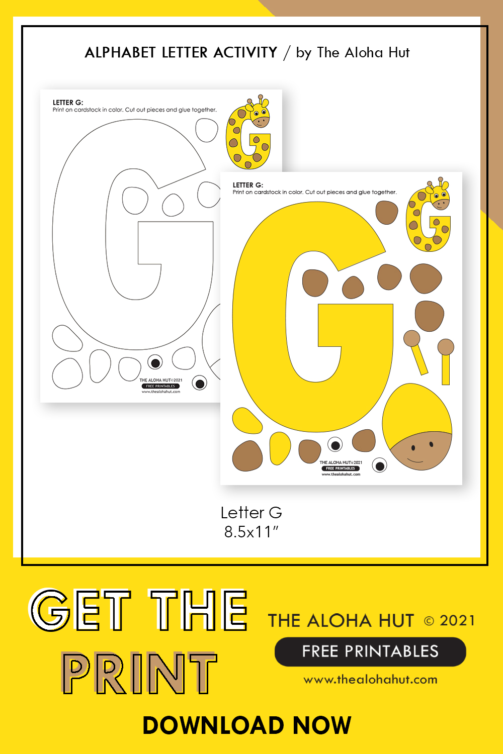 Alphabet Letter Crafts - Letter G - free printable 5 by the Aloha Hut