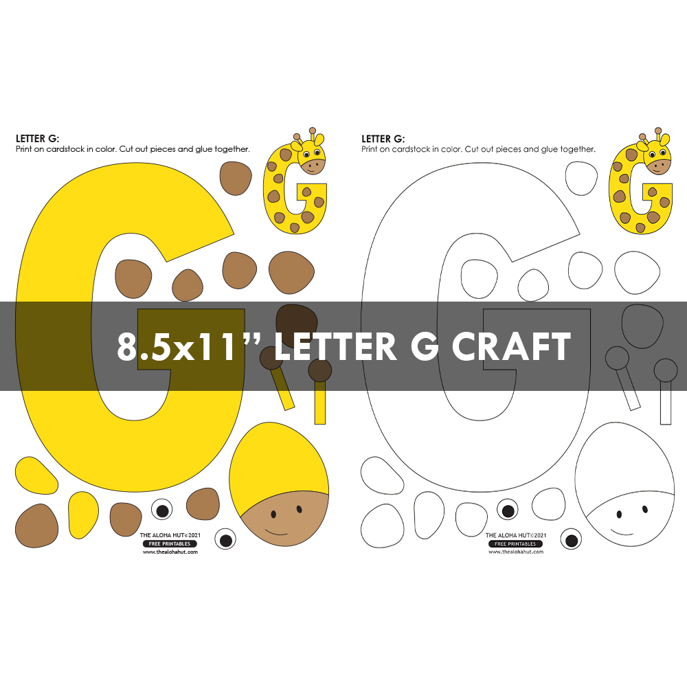 Alphabet Letter Crafts - Letter G - free printable 6 by the Aloha Hut