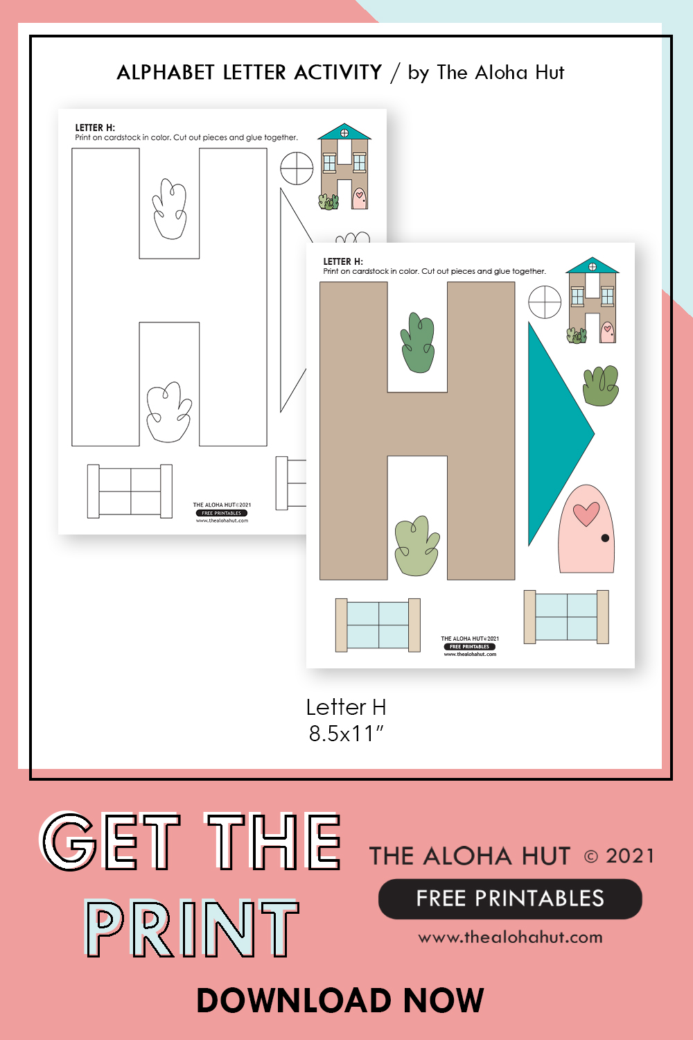 Alphabet Letter Crafts - Letter H - free printable 2 by the Aloha Hut