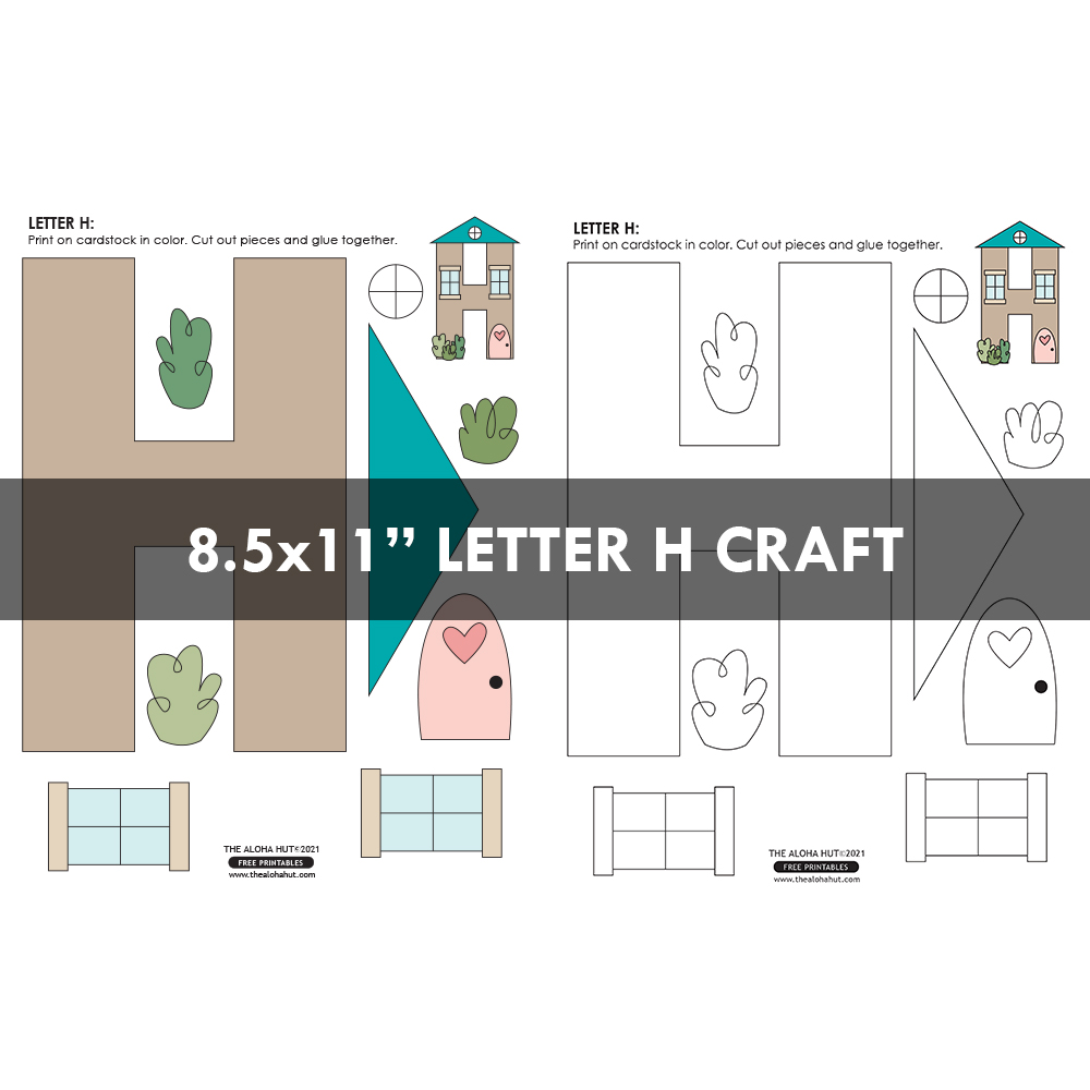 Alphabet Letter Crafts - Letter H - free printable by the Aloha Hut