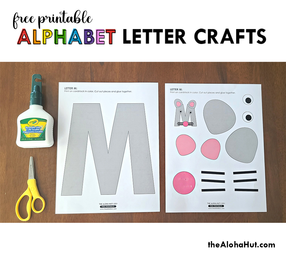 Alphabet Letter Crafts - Letters K L M N - free printable 2 by the Aloha Hut