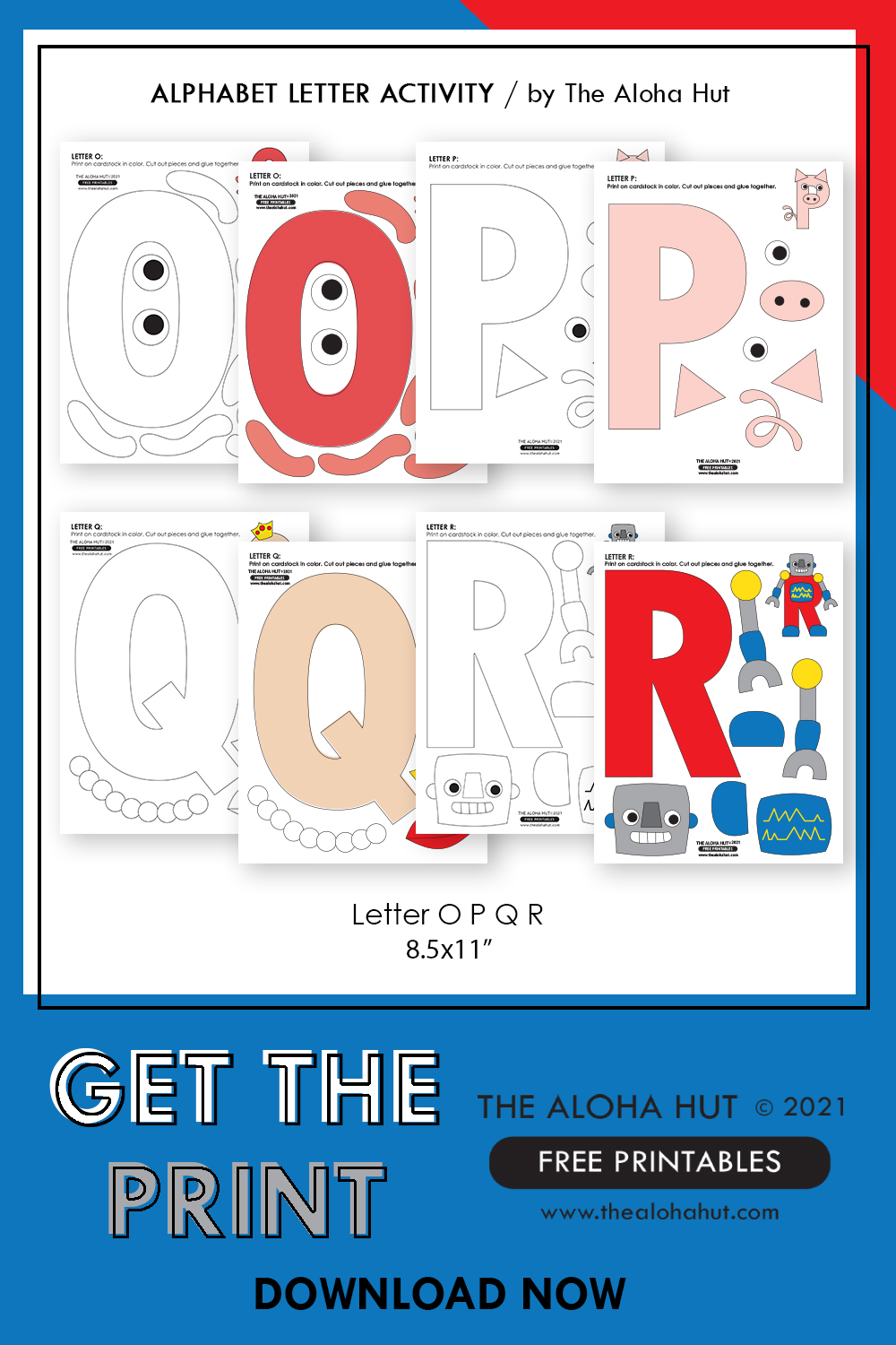 Alphabet Letter Crafts - Letters O P Q R - free printables 3 by the Aloha Hut