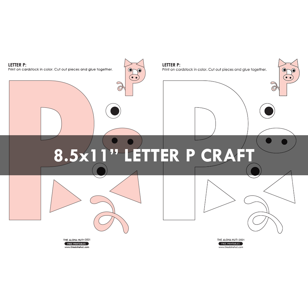 Alphabet Letter Crafts - Letters P - free printables 4 by the Aloha Hut