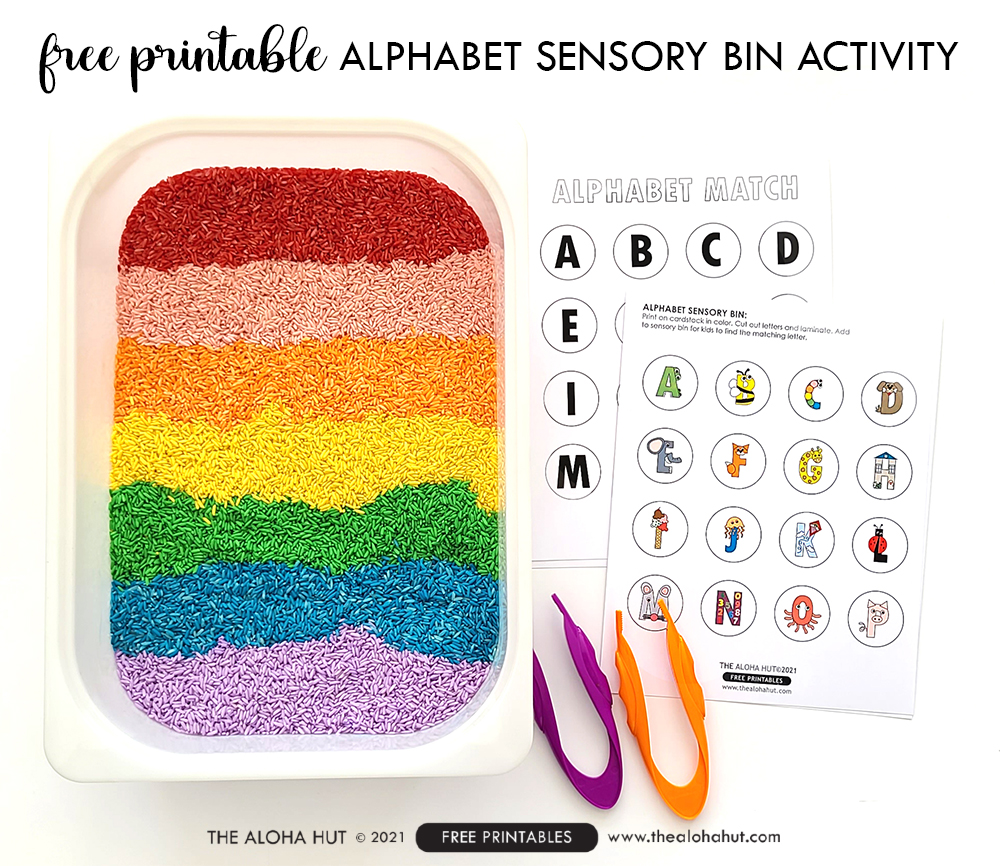 Alphabet Sensory Bin Activity - free printable 2 by the Aloha Hut