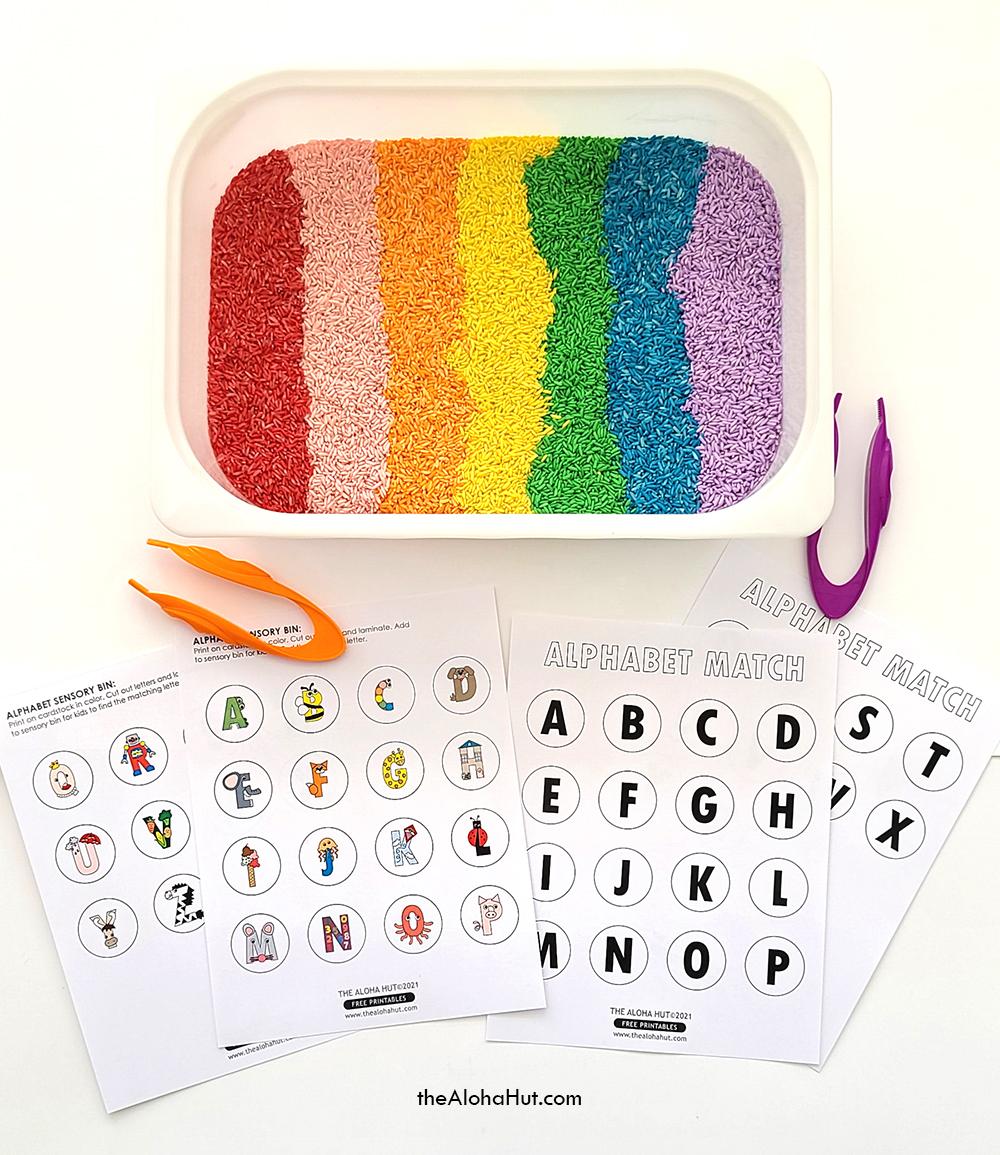 Alphabet Sensory Bin Activity - free printable 5 by the Aloha Hut