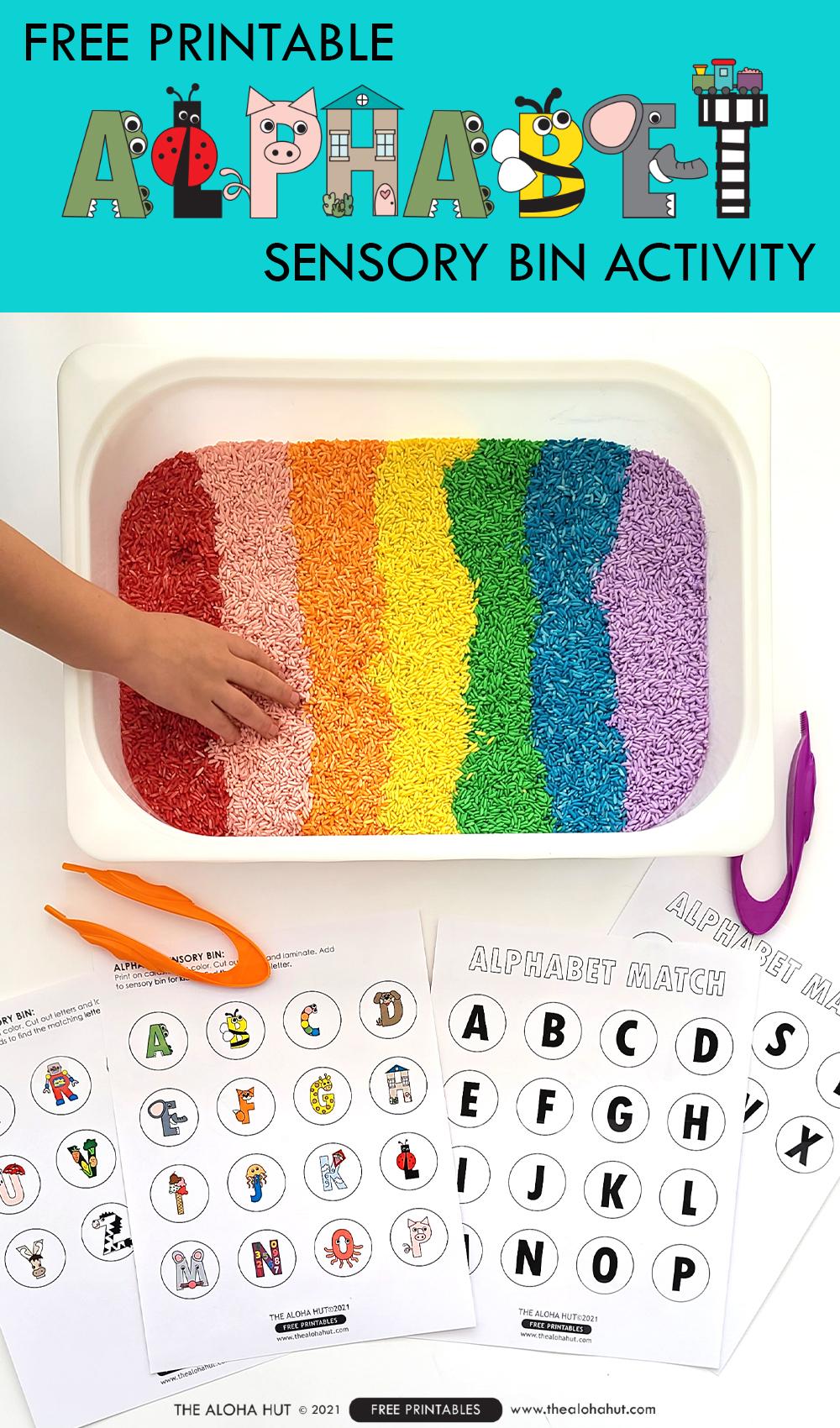 Alphabet Sensory Bin Activity - free printable by the Aloha Hut