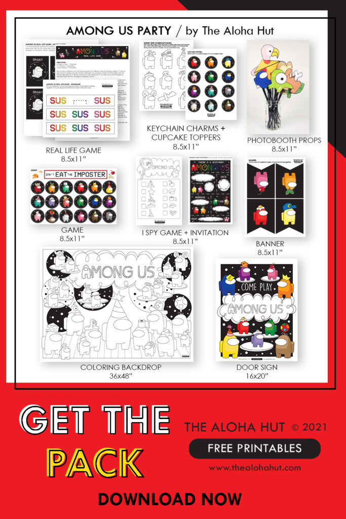 Among Us Party Pack - Free Printables by the Aloha Hut