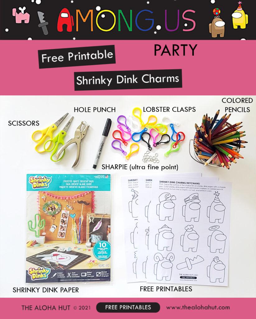 Among Us Party free printable charms by the Aloha Hut