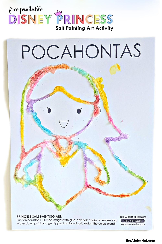 Disney Princess Salt Painting Art Activity - free printable by the Aloha Hut