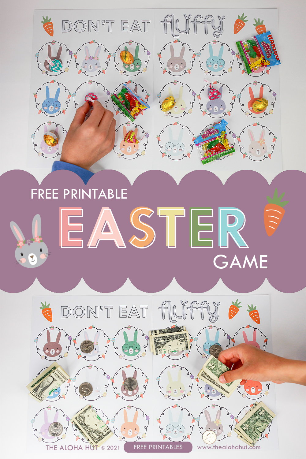 Don't Eat Fluffy free printable Easter Game by the Aloha Hut