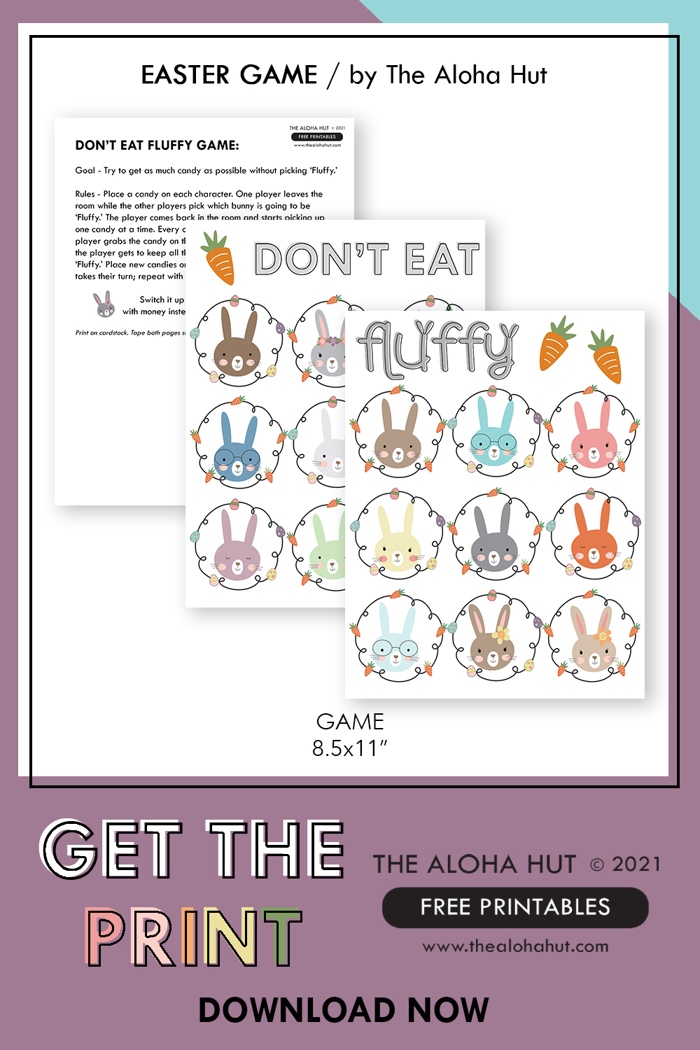 Don't Eat Fluffy free printable Easter Game download by the Aloha Hut