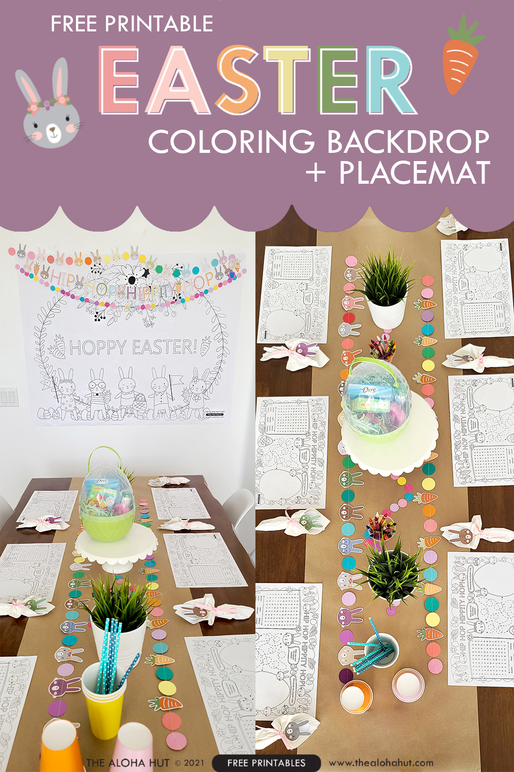 Easter Coloring Backdrop + Placemat free printables 2 by the Aloha Hut