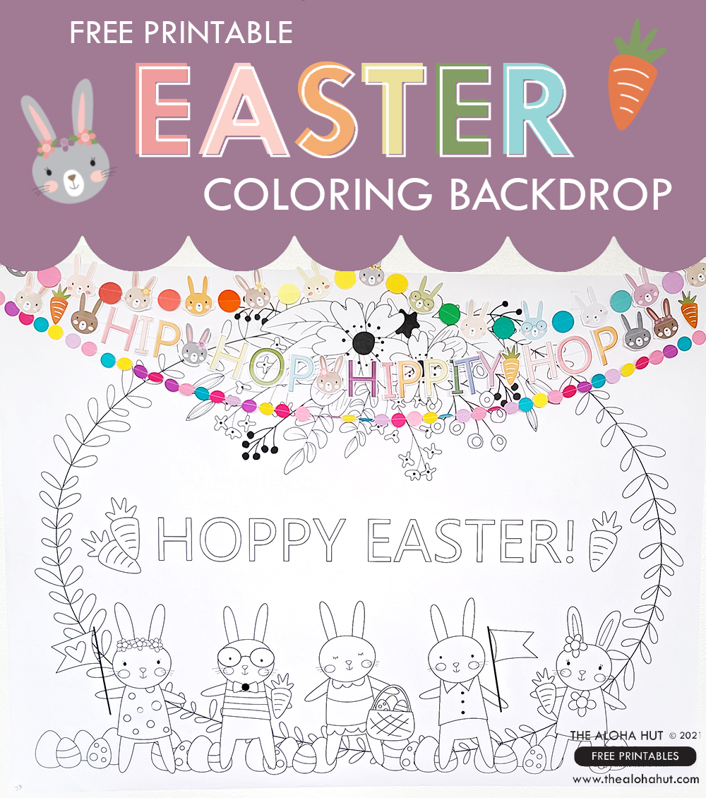 Easter Coloring Backdrop + Placemat free printables 3 by the Aloha Hut