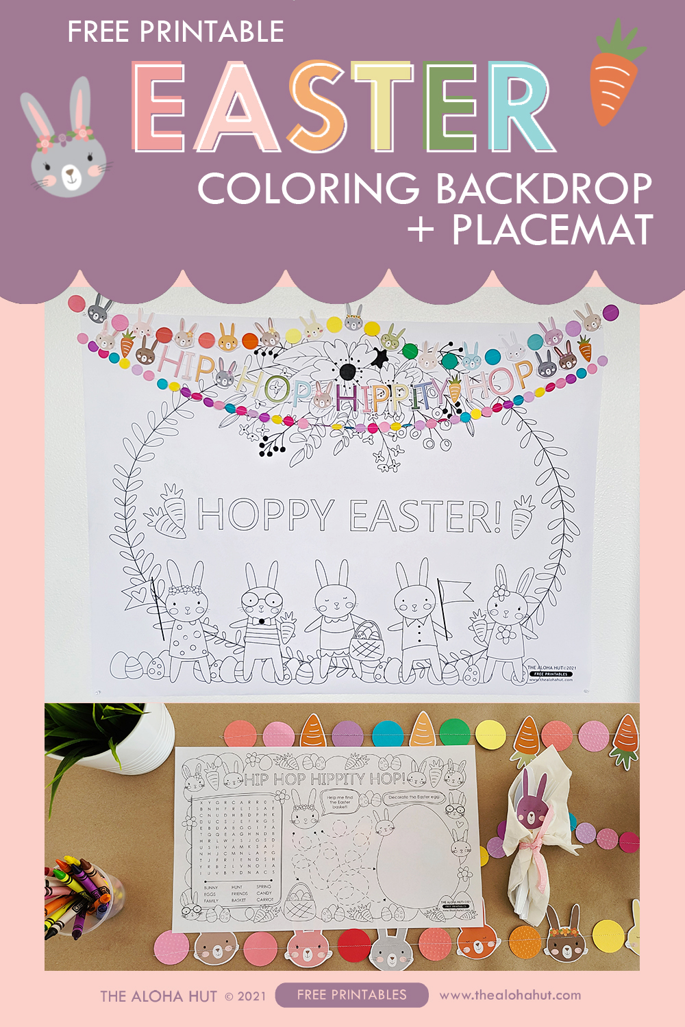 Easter Coloring Backdrop + Placemat free printables by the Aloha Hut