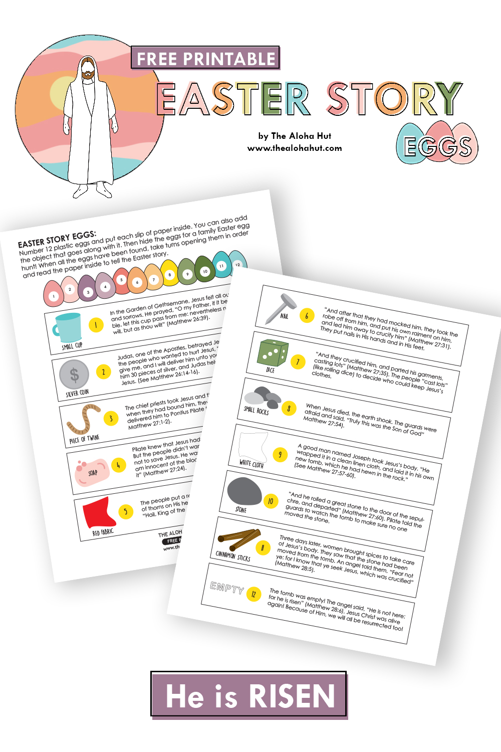 Easter Story Eggs 2 free printable by the Aloha Hut