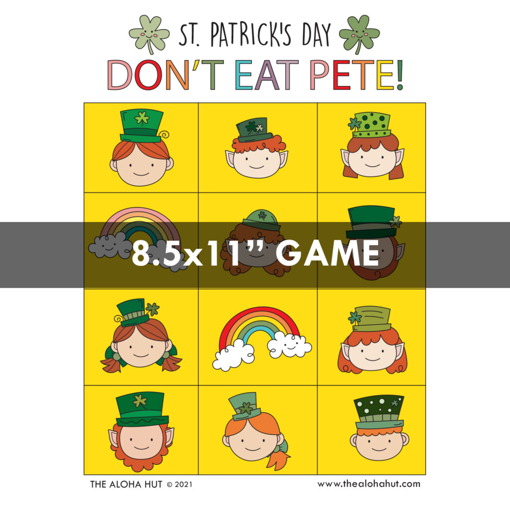 Free Printable St Patrick's Day Don't Eat Pete Game by the Aloha Hut