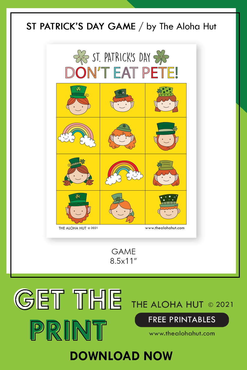 Free Printable St Patrick's Game Don't Eat Pete by the Aloha Hut