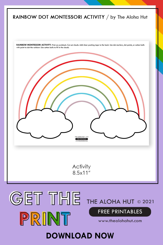 Rainbow Dot + Sticky Cloud free printable Montessori Activity 4 by the Aloha Hut